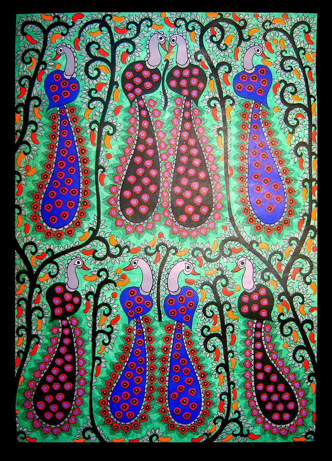 Madhubani Paintings Painting - Peacocks-madhubani Painting by Mithila Crafts