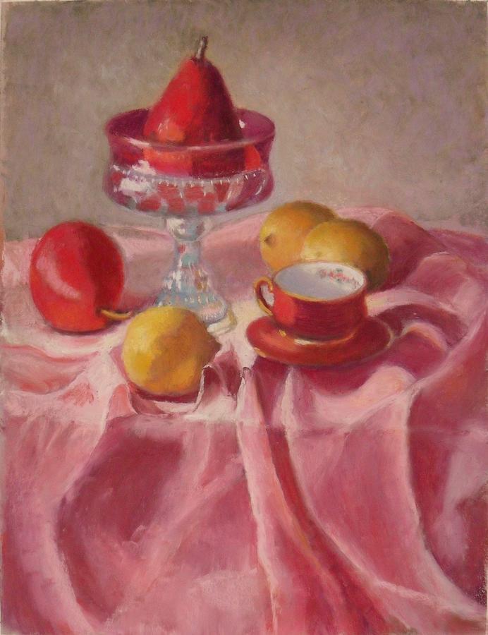 Lemons Pastel - Pear On A Pedestal by Julie Mayser