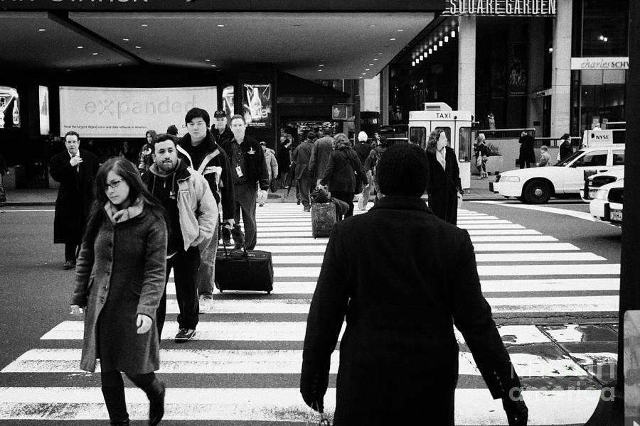 Usa Photograph - Pedestrians Crossing Crosswalk Carrying Luggage On Seventh 7th Ave Avenue  by Joe Fox