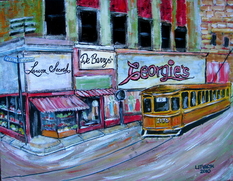Tram Painting - Peel And St. Catherine 1955 by Michael Litvack
