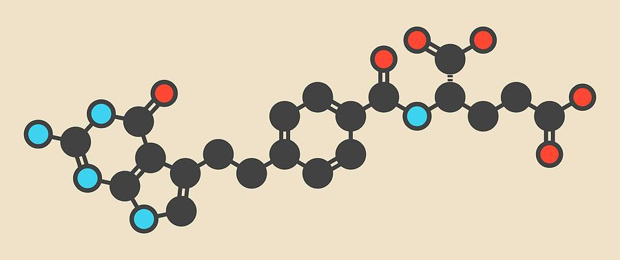 Pemetrexed Photograph - Pemetrexed Lung Cancer Drug Molecule by Molekuul