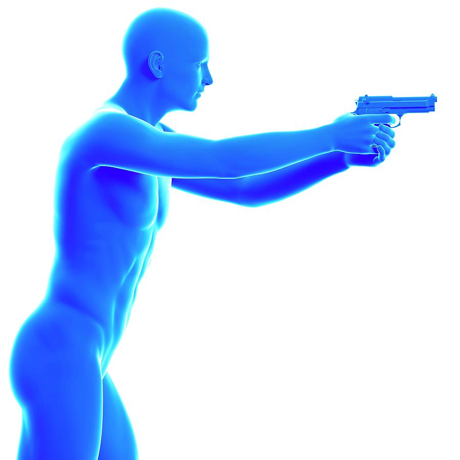 Artwork Photograph - Person Holding Gun by Sebastian Kaulitzki/science Photo Library