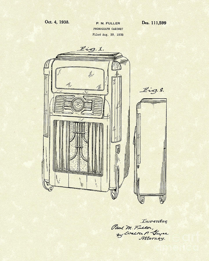 Fuller Drawing - Phonograph Cabinet 1938 Patent Art by Prior Art Design