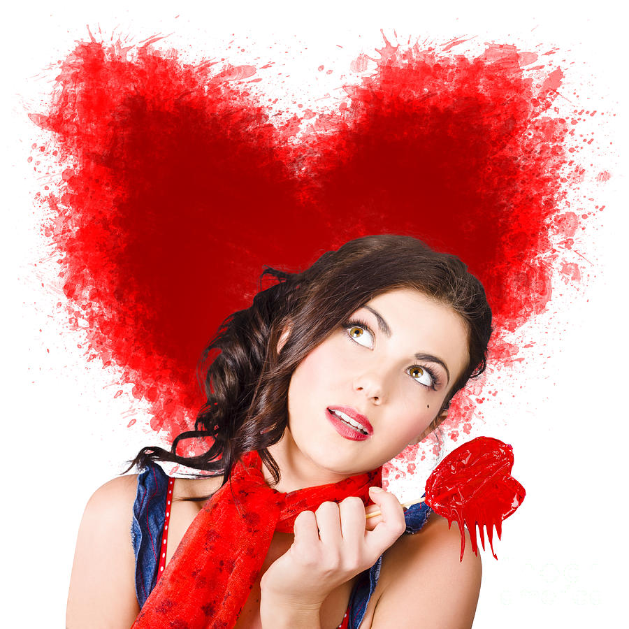 Woman Photograph - Photo Of Romantic Woman Holding Heart Shape Candy by Jorgo Photography - Wall Art Gallery