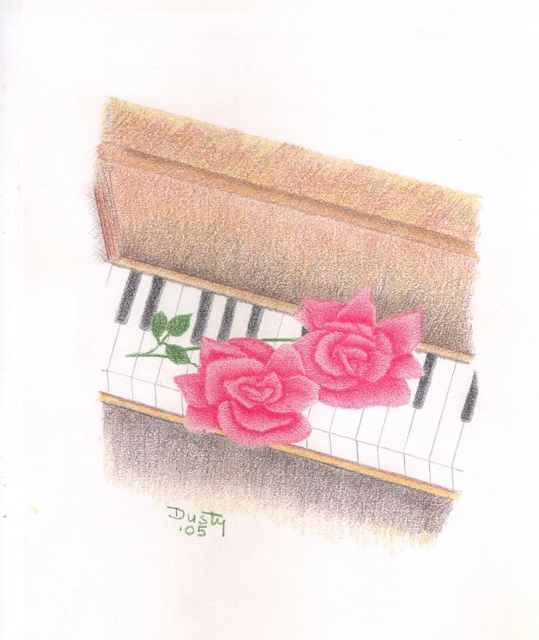 Rose Drawing - Piano Pinks by Dusty Reed