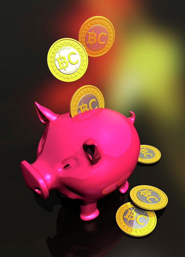 Artwork Photograph - Piggy Bank And Bitcoins by Victor Habbick Visions