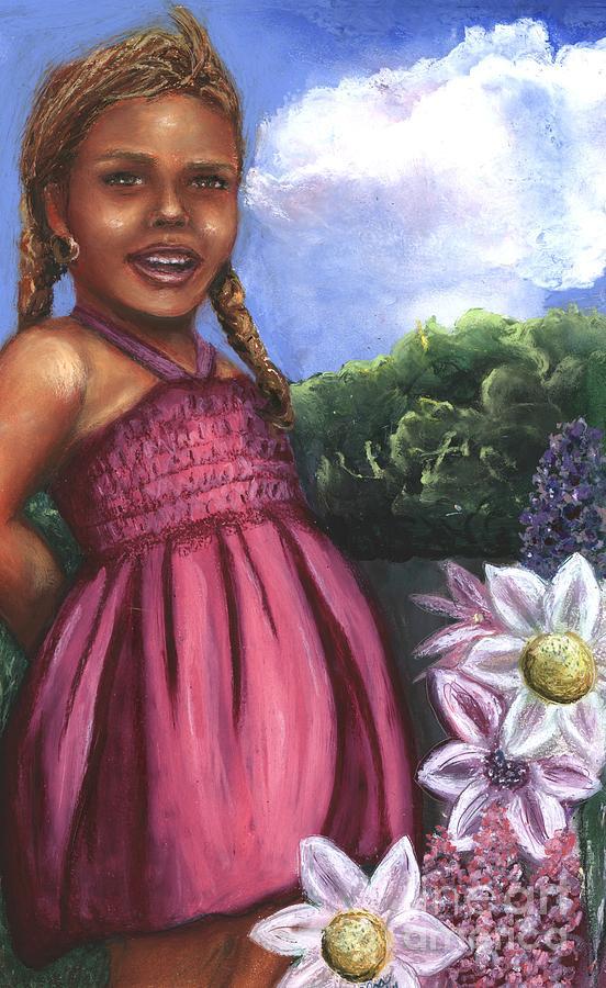 Little Girl Mixed Media - Pink Dress by Alga Washington