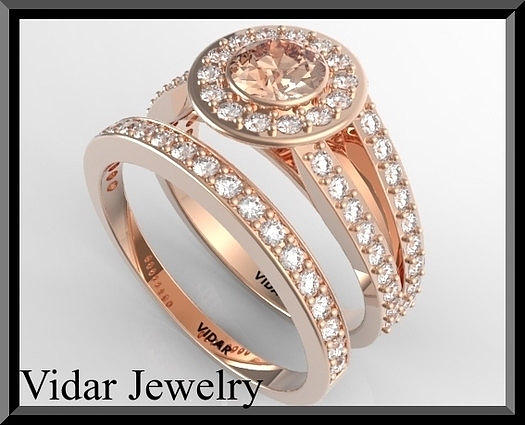 Gemstone Jewelry - Pink Morganite And Diamond 14k Wedding Ring And Engagement Ring Set by Roi Avidar
