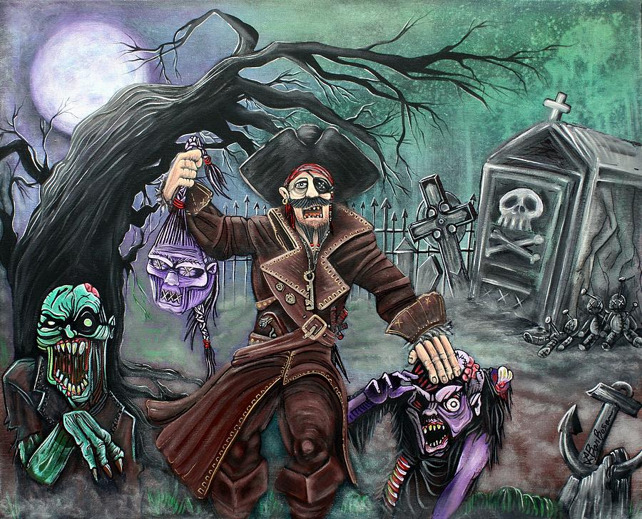 Pirate Painting - Pirates Graveyard by Laura Barbosa