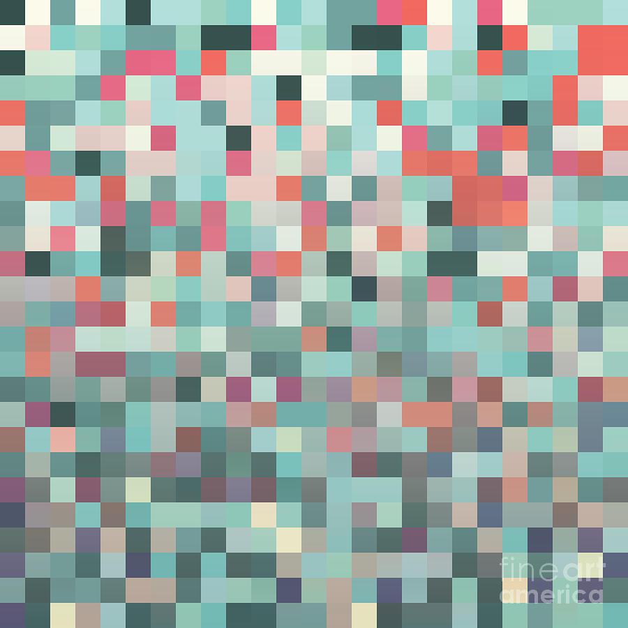 Pattern Digital Art - Pixel Art Style Pixel Background by Mike Taylor