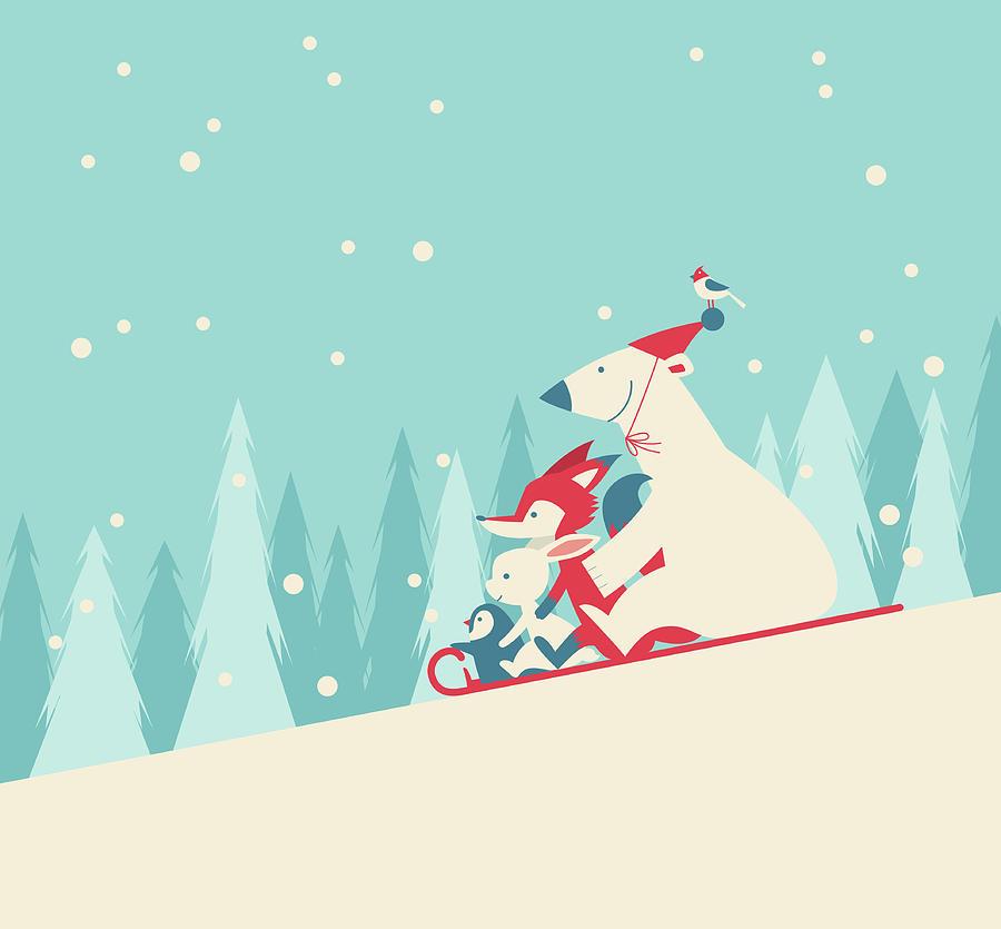 Playing Snow Sled Digital Art by Akindo