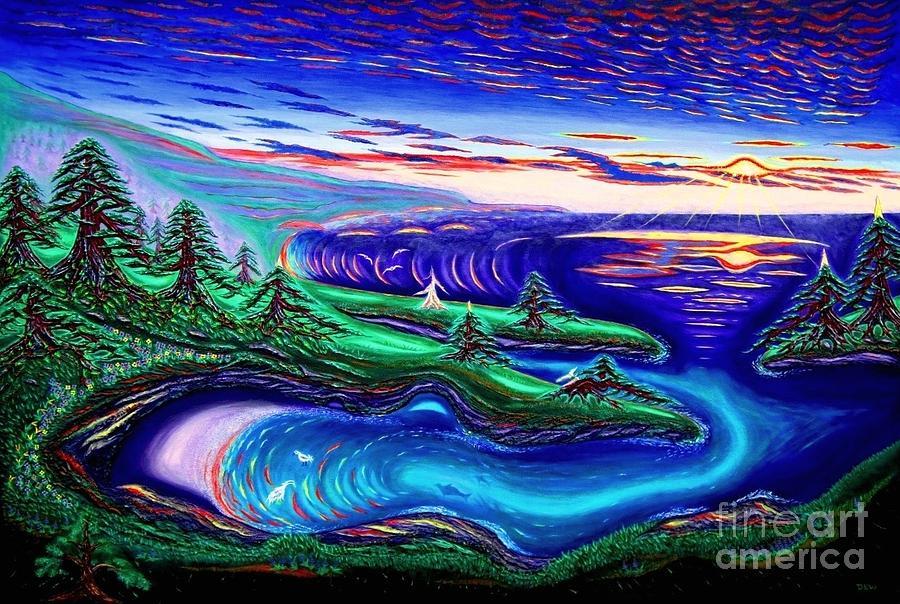 David Weaver Painting - Point Lobos California China Cove by David Earl Weaver