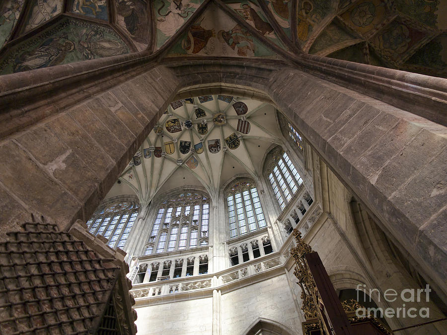 Vault Photograph - pointed vault of Saint Barbara church by Michal Boubin