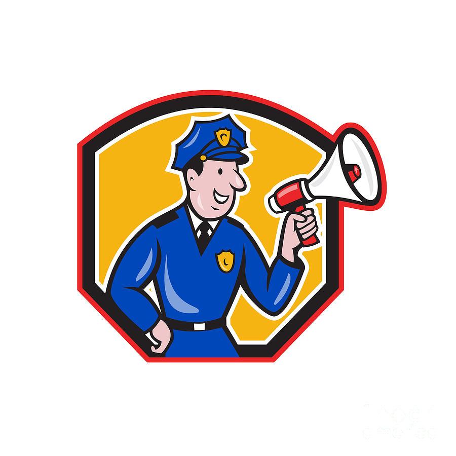 Policeman Digital Art - Policeman Shouting Bullhorn Shield Cartoon by Aloysius Patrimonio