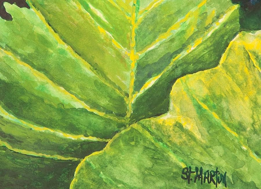 Leaves Painting - Pop Of Green by Annie St Martin