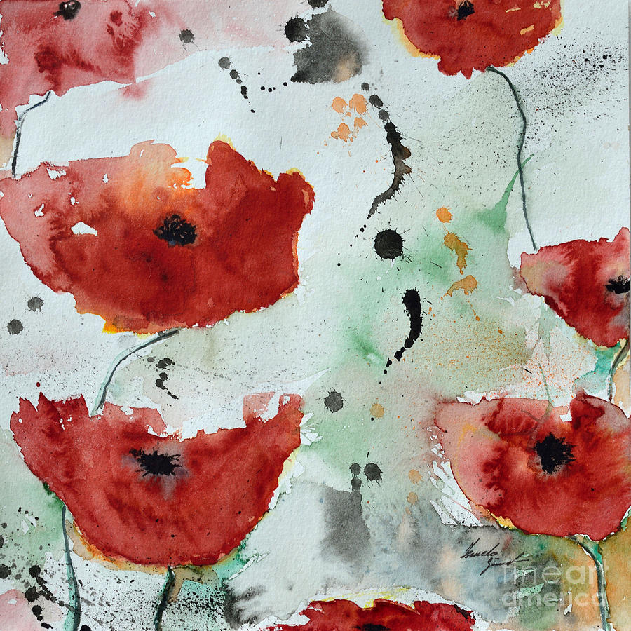 Poppies Painting - Poppies Flower- Painting by Ismeta Gruenwald
