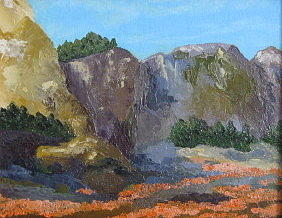 Poppies Painting - Poppy Cliffs by Terry Sonntag