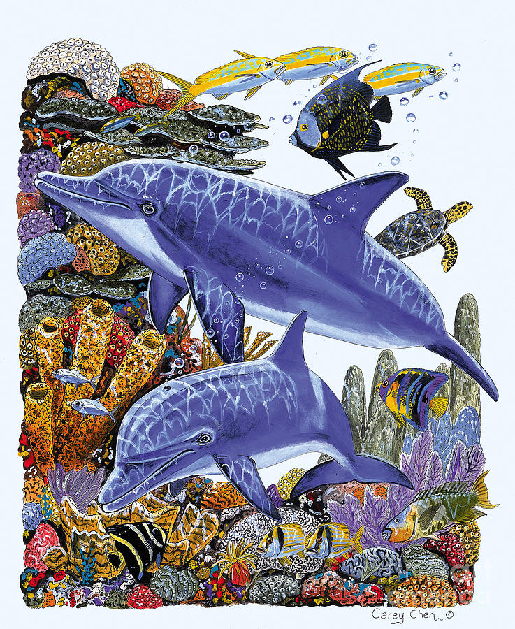 Porpoise Painting - Porpoise Reef by Carey Chen