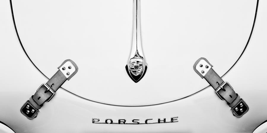 Black And White Photograph - Porsche 1600 Hood Emblem by Jill Reger
