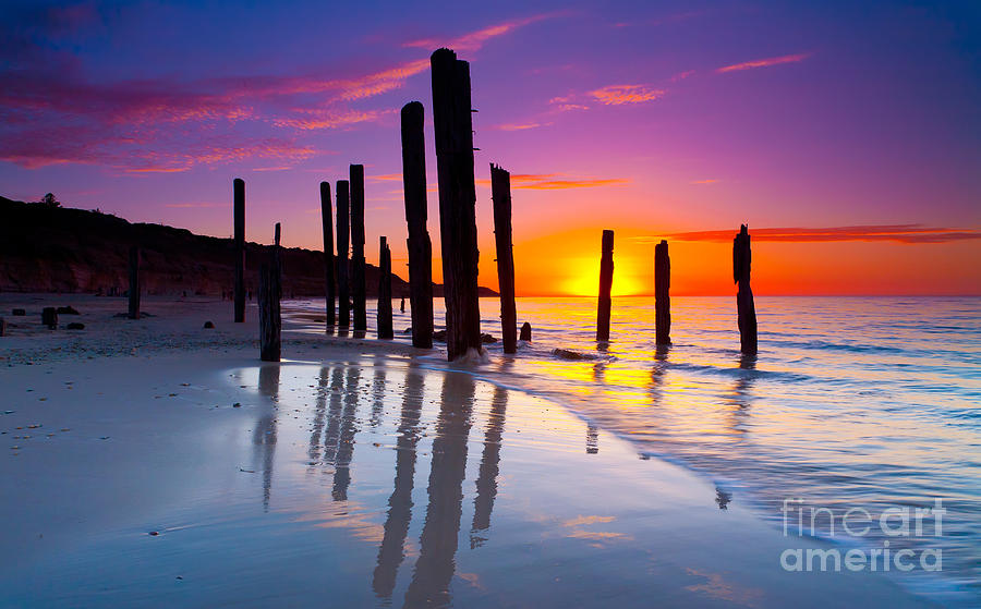 Port Willunga Sunset Photograph by Bill  Robinson