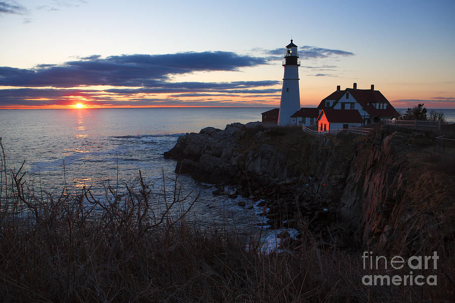 Lighthouse Photograph - Portland Head Light At Dawn by Diane Diederich
