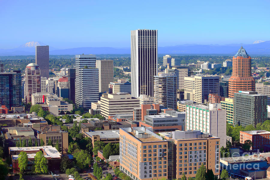 Portland Oregon Skyline Photograph by Bill Cobb