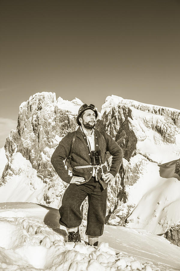 Austria Photograph - Portrait Of A Bearded Man In Old Nostalgic Skiing Outfit by Leander Nardin