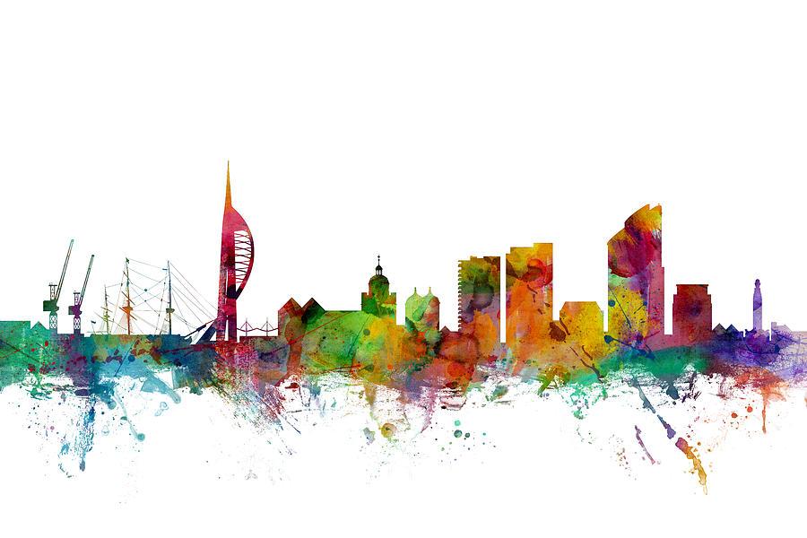 Portsmouth England Skyline Digital Art By Michael Tompsett