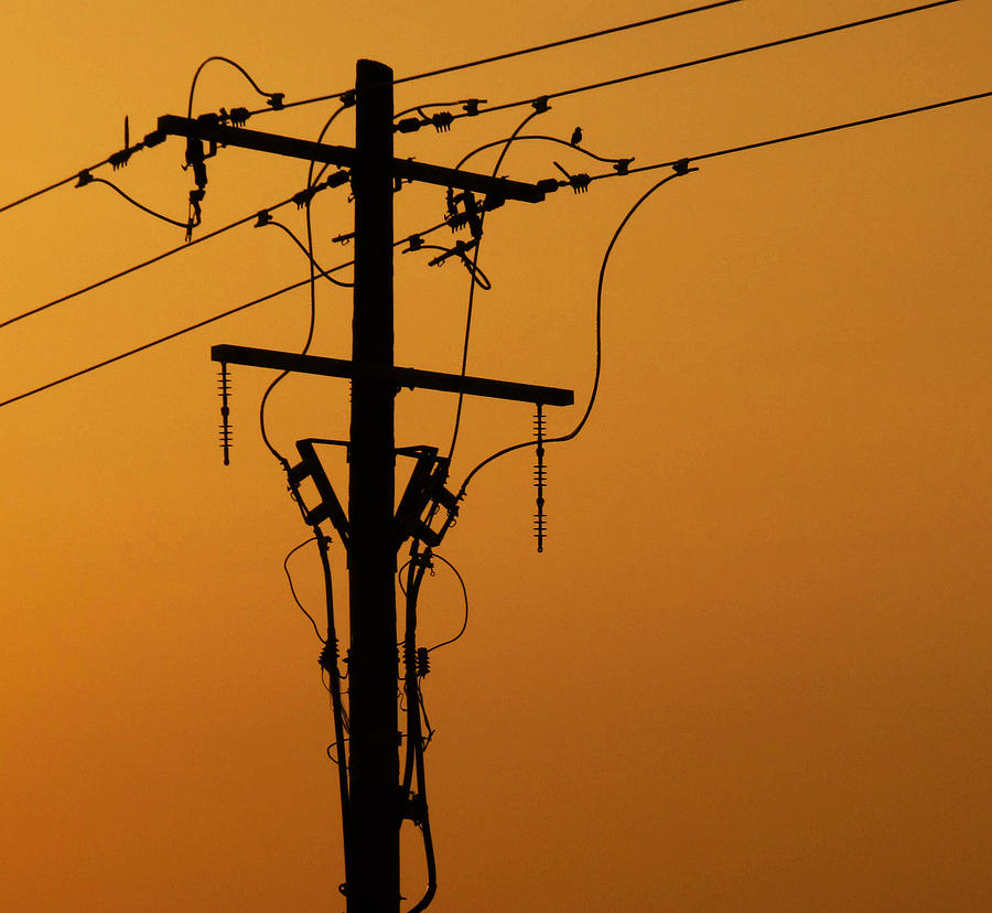 Electrical Photograph - Power Line Sunset by Don Spenner
