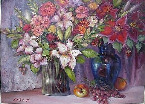 Flowers Painting - Preserving Fall by Naomi Dixon