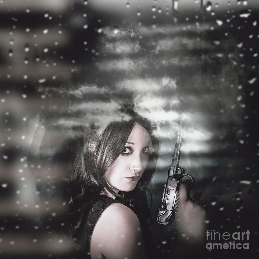 Pretty Female Spy Hiding In Shadows With Weapon Photograph