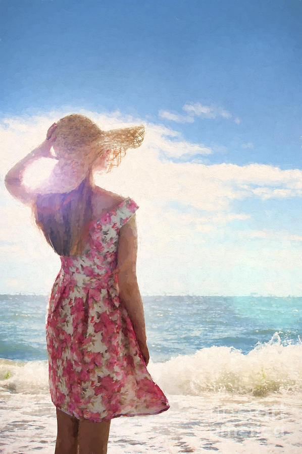 Woman Photograph - Pretty Young Woman Looking Out To Sea by Lee Avison