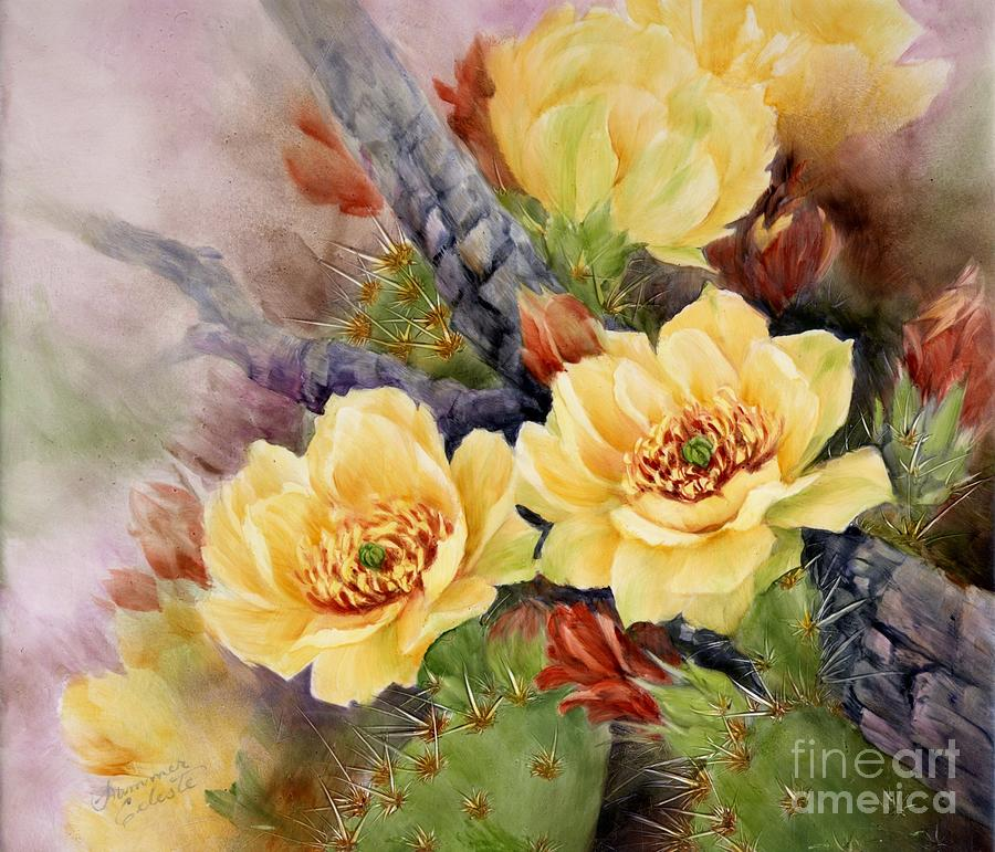 Cactus Painting - Prickly Pear In Bloom by Summer Celeste