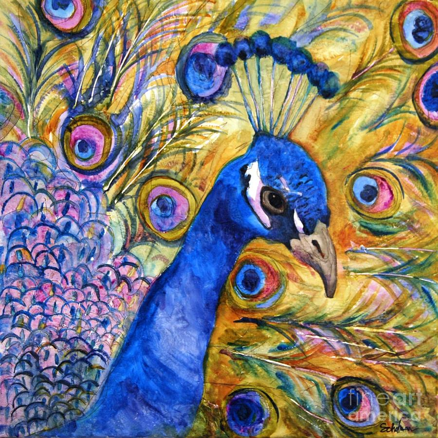 Painting Painting - Prince Peacock by Miriam  Schulman