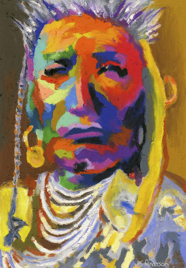 Indian Painting - Proud Native American II by Stephen Anderson