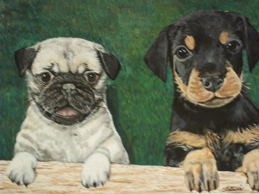 Pug Painting - Puppies by Teresa  Peterson