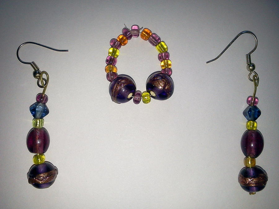 Gold Jewelry - Purple And Gold by Karen Jensen