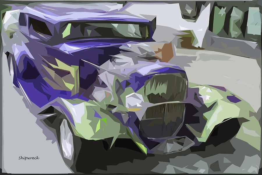 Purple Hot Rod Digital Art