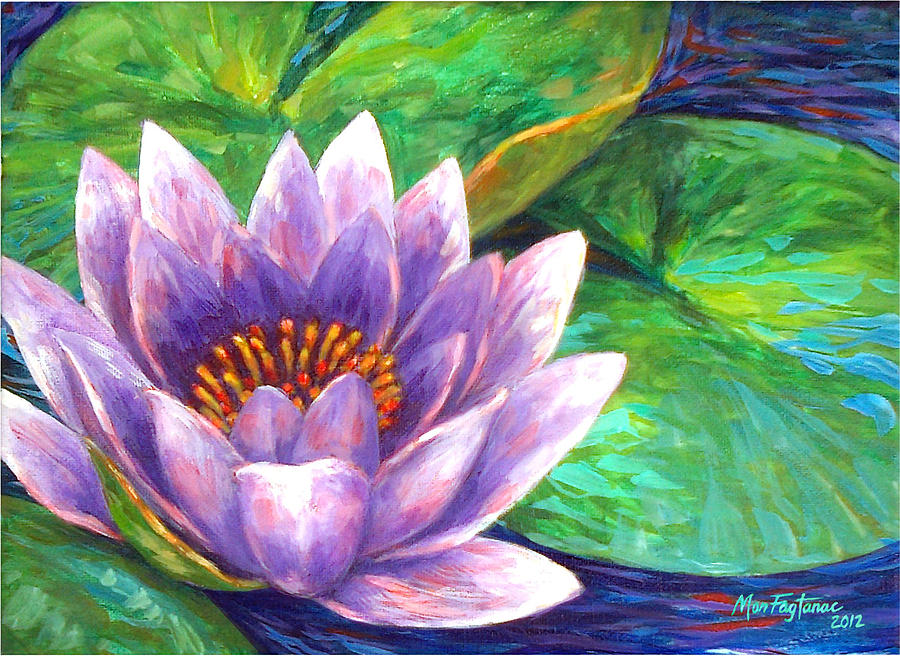 Purple Lotus Flower Painting By Mon Fagtanac