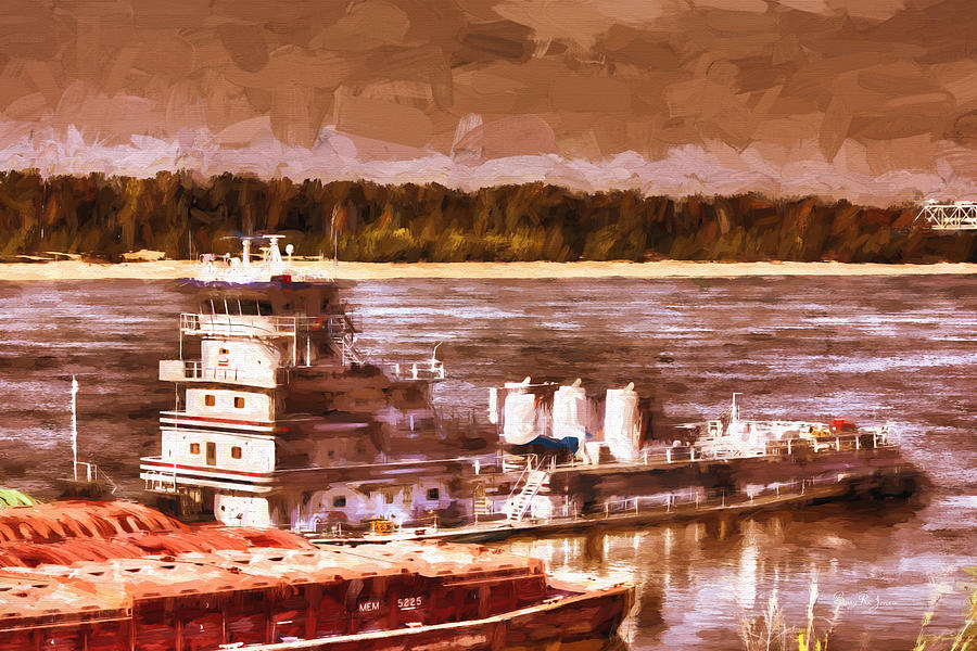 Barge Painting - Riverboat - Mississippi River - Push That Barge by Barry Jones