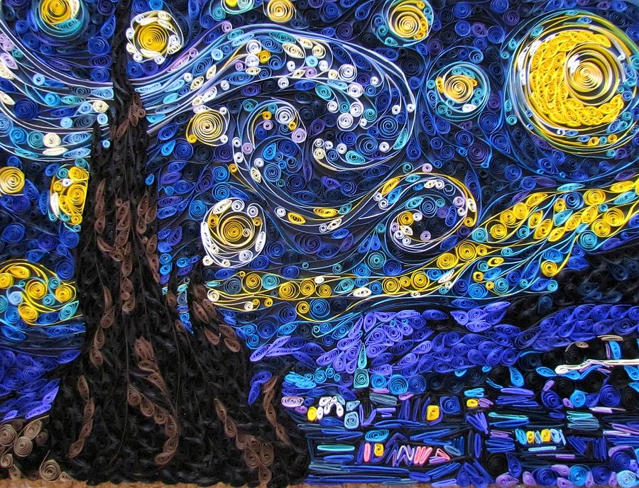 Stars Mixed Media - Quilled Starry Night by Suzy Myers