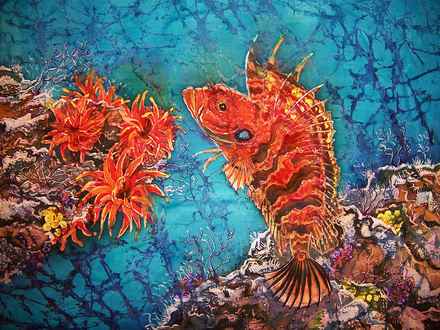 Ocean Painting - Quillfin Blenny by Sue Duda