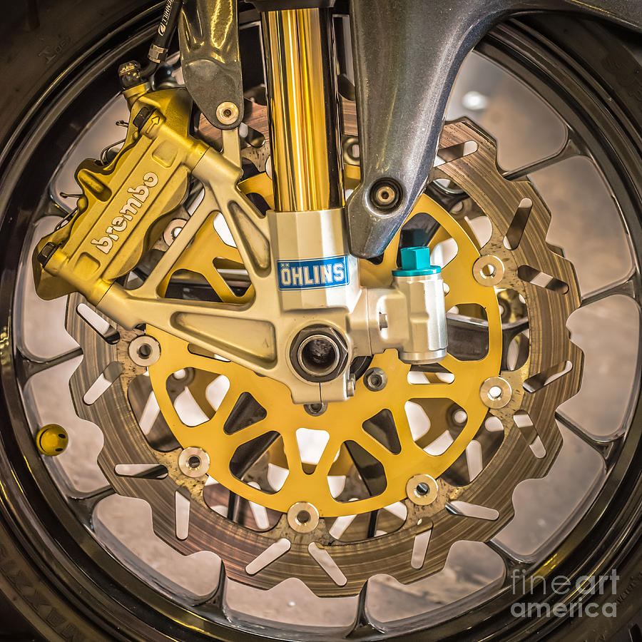 Colourful Photograph - Racing Bike Wheel With Brembo Brakes And Ohlins Shock Absorbers - Square - Black And White by Ian Monk