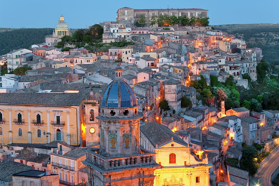Architecture Photograph - Ragusa At Dusk, Sicily, Italy by Peter Adams