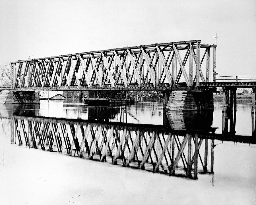 1872 Photograph - Railroad Bridge Red River by Granger