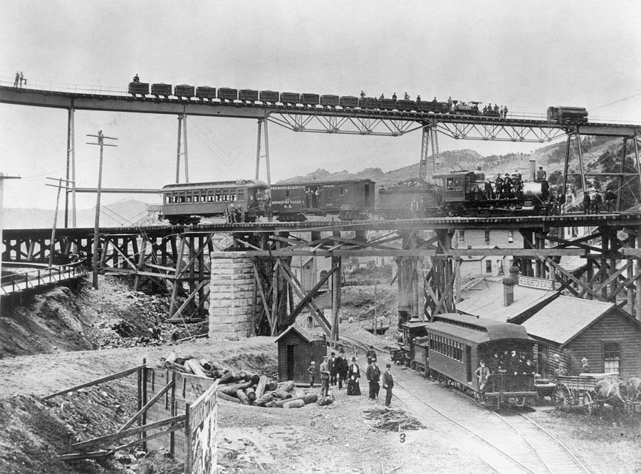 1890 Photograph - Railroading Construction by Granger