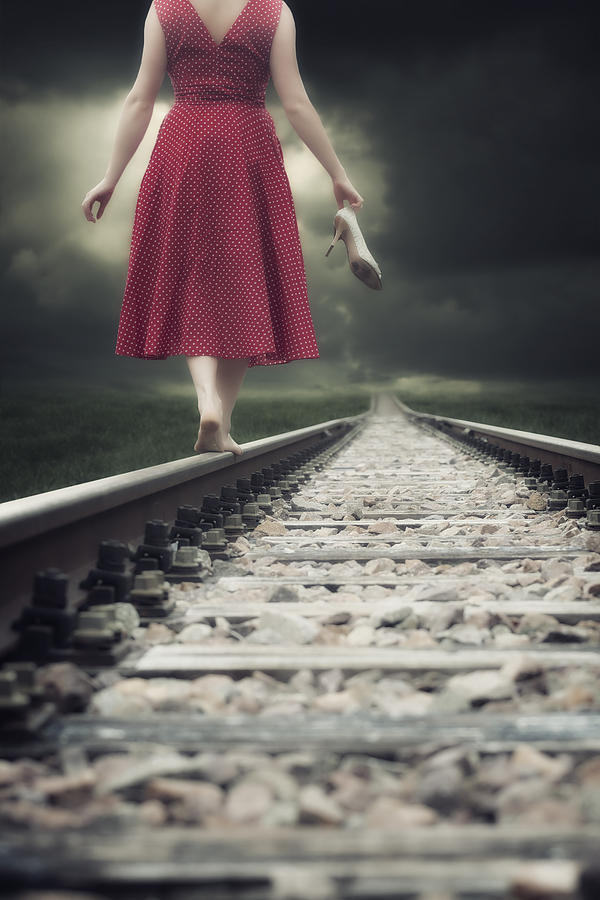 Woman Photograph - Railway Tracks by Joana Kruse