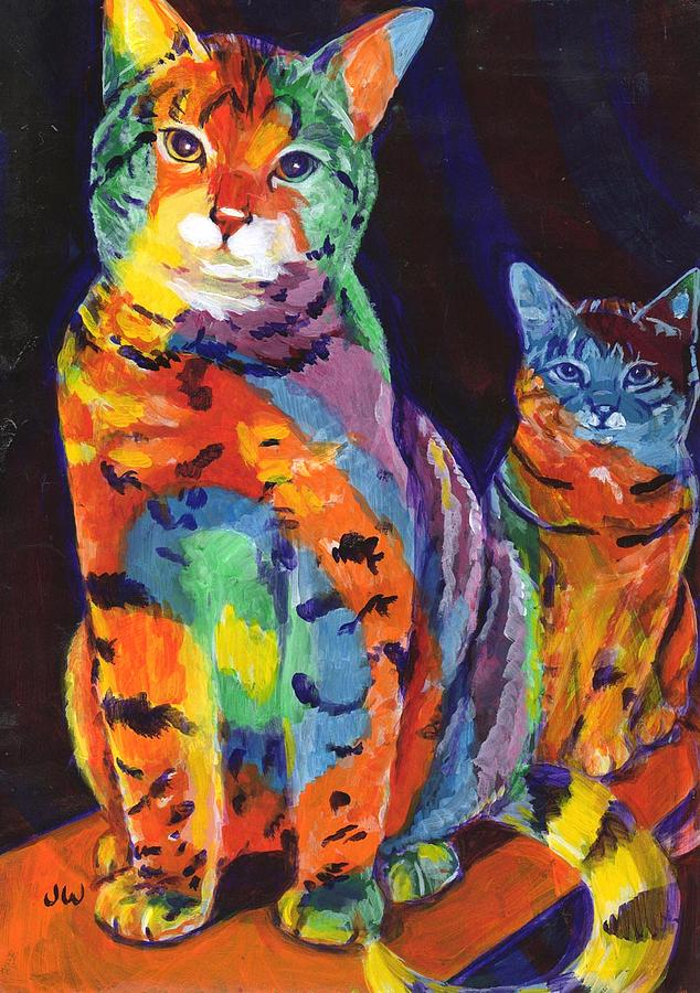 Cat Painting - Rainbow Cats by June Walker