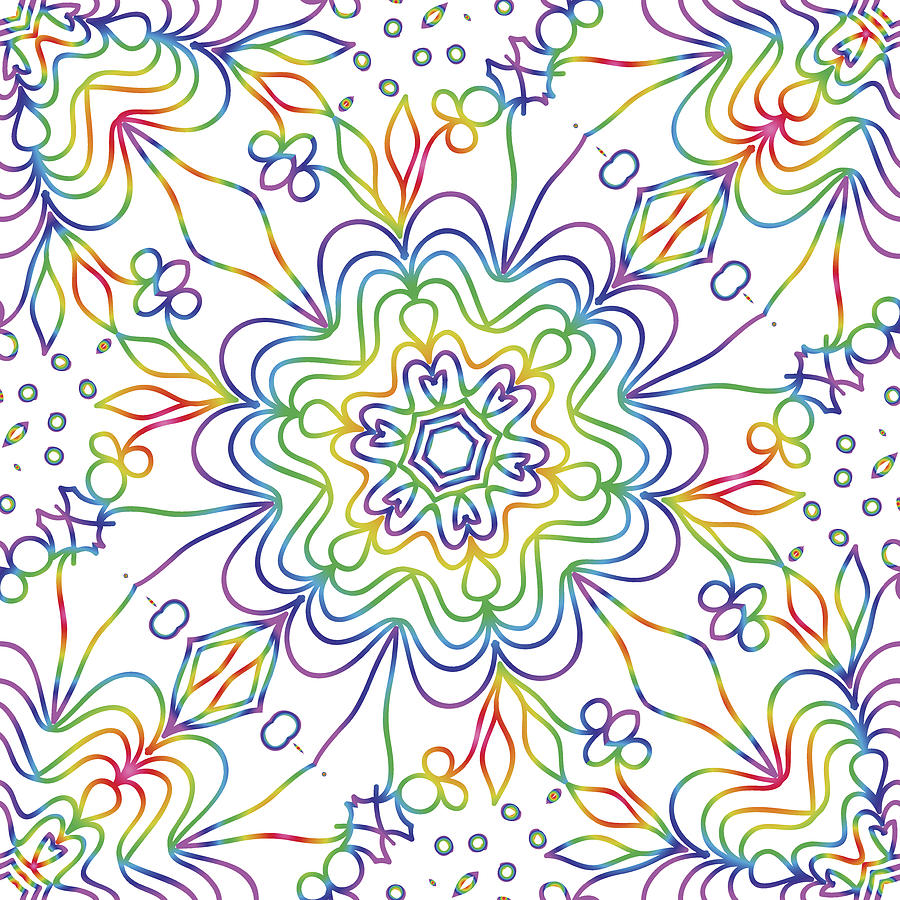 Rainbow Color Seamless Pattern With Decorative Lace Flower Ornament Vector Illustration For Greeting Card Invitation Background
