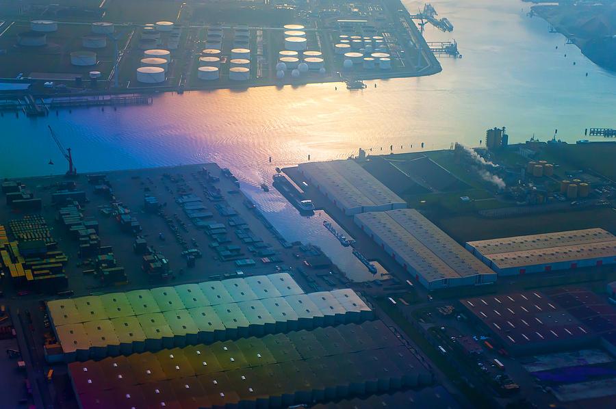 Aerial Photograph - Rainbow Earth 3. Somewhere Over Netherlands by Jenny Rainbow